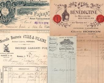 French ephemera paper set, cute French invoices, vintage ephemera paper pack