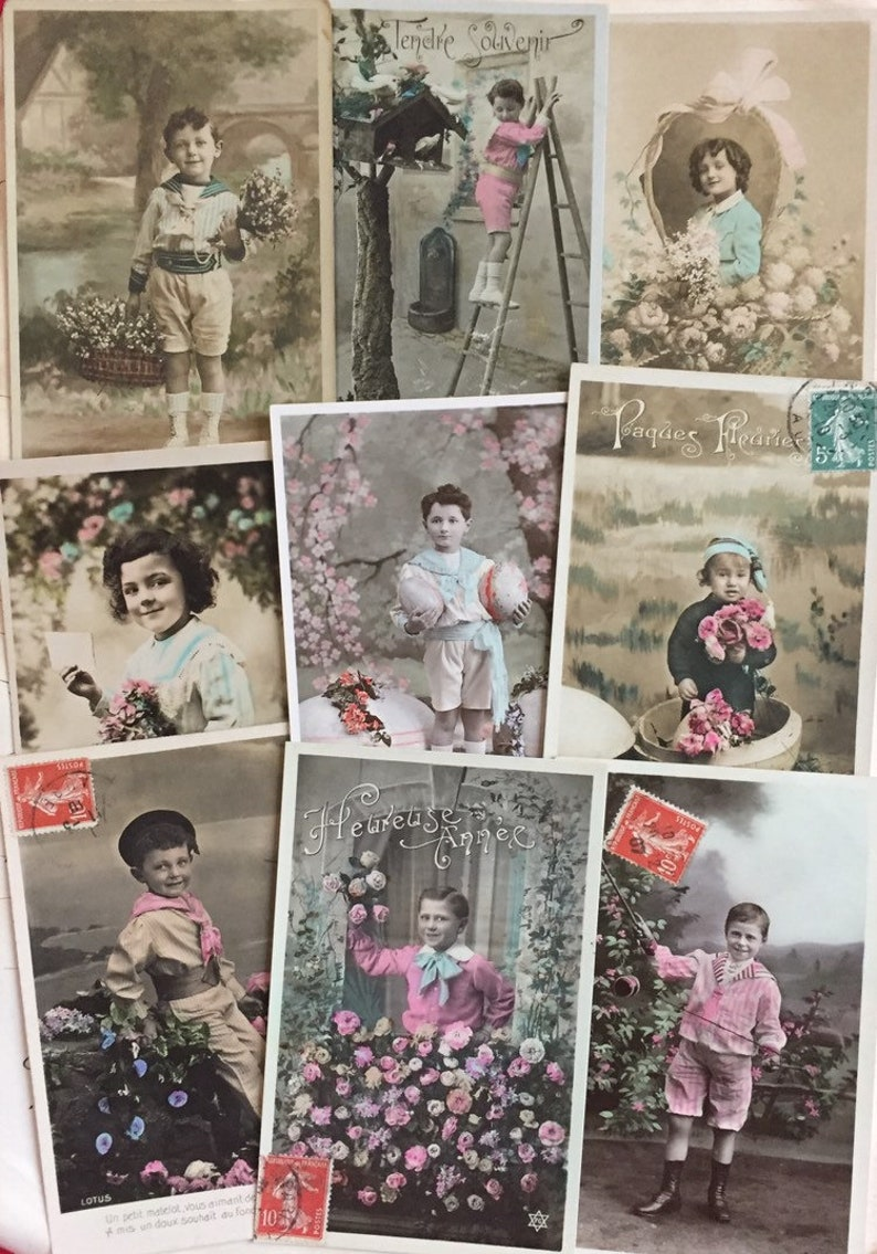 Set of vintage boys postcards from France Early 1900s image 0