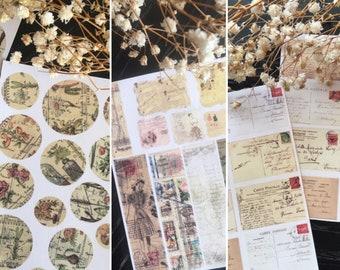 Mini Sticker sheets set, Vintage style kiss cut stickers, handmade planner supplies