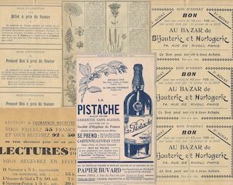Vintage French ephemera papers, Digital French graphics, Vintage ephemera paper pack