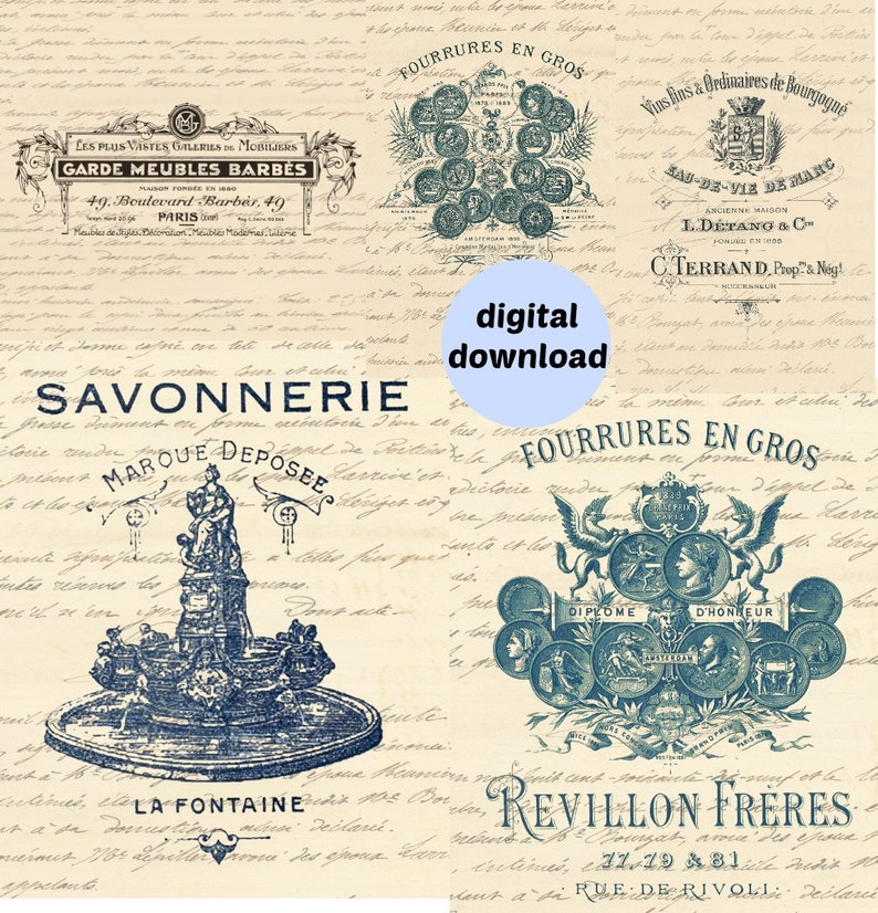 Vintage Decor Transfer  French Billheads Paper Altered image 0