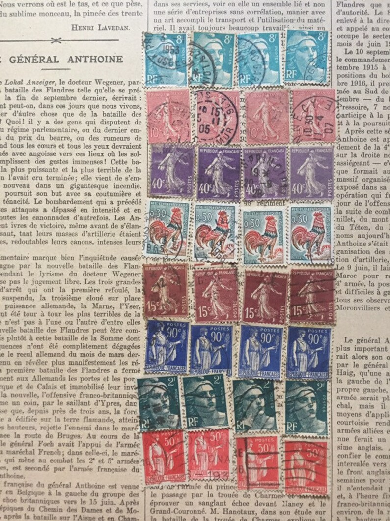 Mixed pack of vintage stamps from France  multicolored image 0