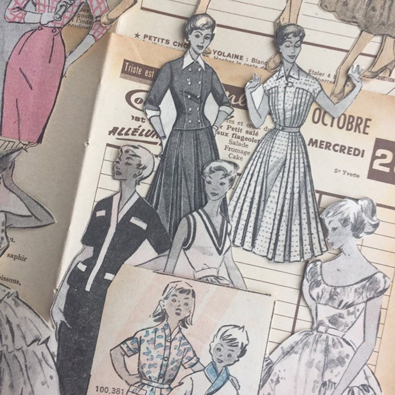 Vintage paper Pack of 1950s cutouts for collage & journaling image 0