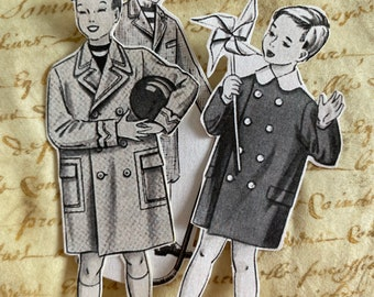 Vintage boys stickers, set of Vintage style kiss cut stickers, 1950s French fashion, Black and white stickers