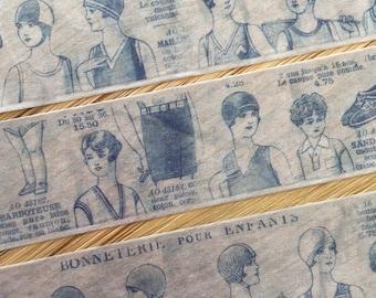 Vintage children washi tape, Retro French fashion catalog, Large masking tape roll
