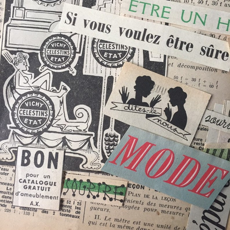 French words for vintage collage image 0