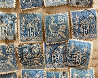 40 antique blue stamps, French vintage postage stamps , vintage stamps by color , Stamp pack for Scrapbooking & Collage