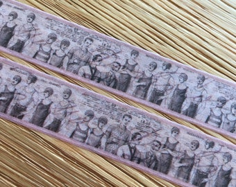 Vintage swimmers Washi tape, 1900s Men's fashion on masking tape roll