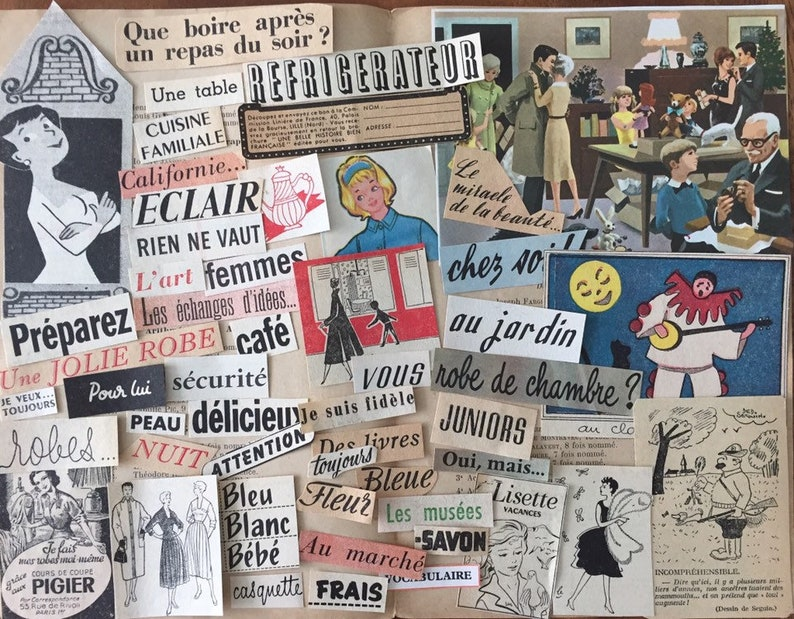 Vintage French words and illustrations for collage & image 0