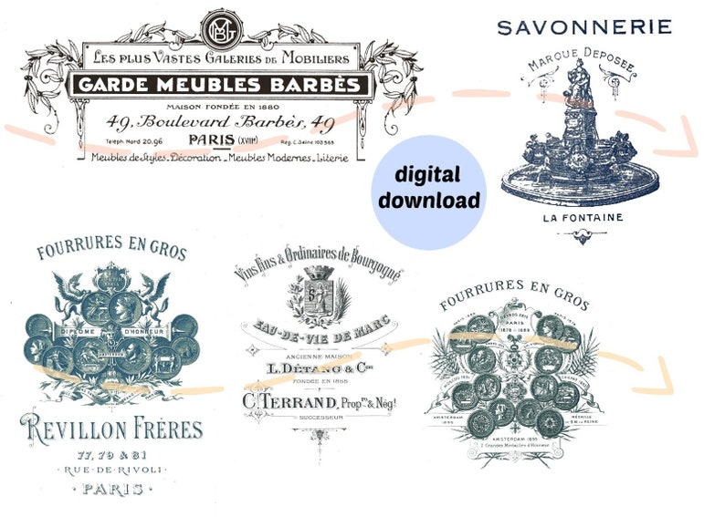 Vintage logos Printables from Antique French Business image 0