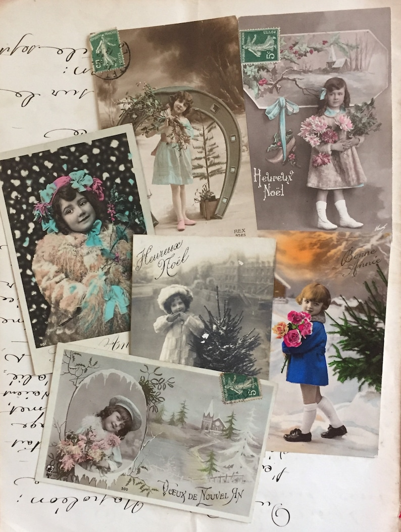 Winter girls Set of vintage postcards from France Early 1900s image 0