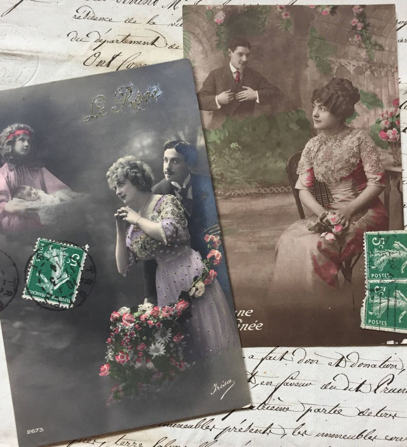 Romantic Vintage Postcards of Victorian woman dreaming about a image 0