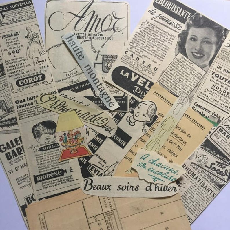 French Vintage ads &newspaper clippings  1950s paper ephemera image 0