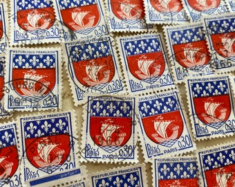 60 x stamps, Paris coat of arms, Vintage French stamps