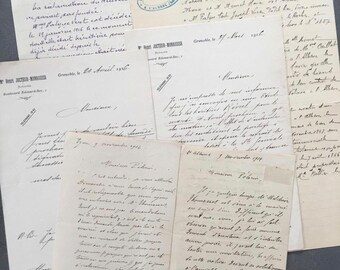 Antique French letters, set of 1910s old letters