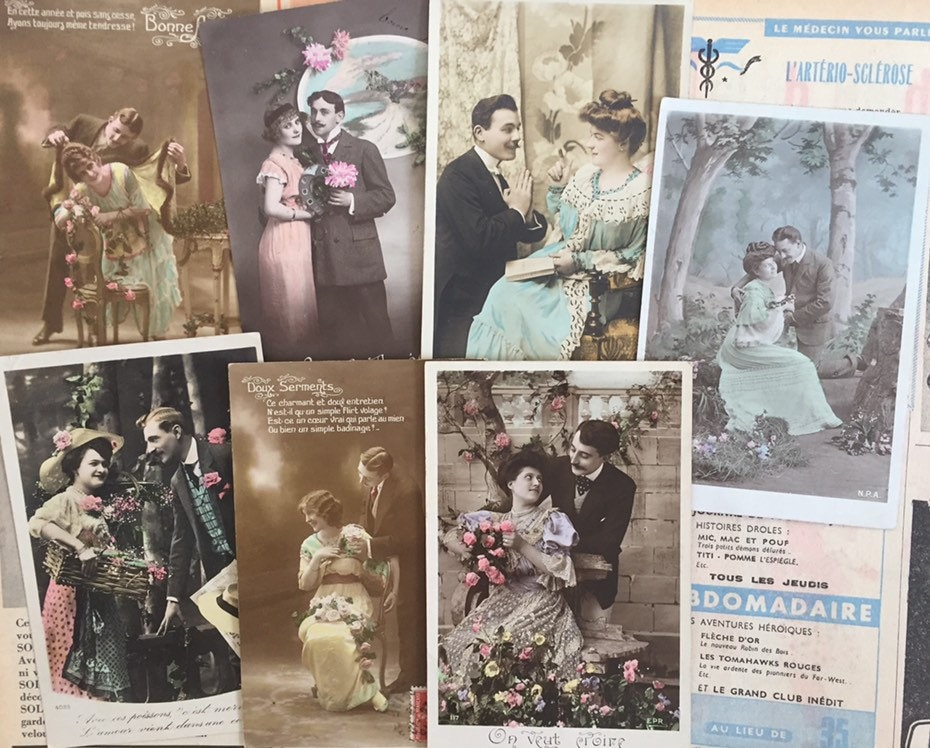 Romantic antique postcards Set of 1900s French cards