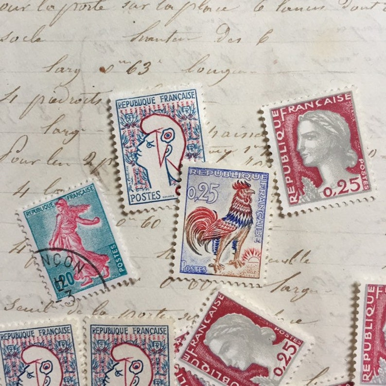 French stamps mixed pack of French vintage used postage image 0