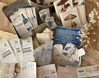 Handmade French ephemera stickers, vintage style stickers, peel-off stickers, large sticker pack