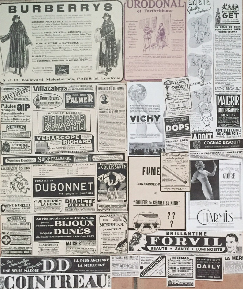 Antique French ads 1910s & 1930s French Vintage Papers image 0