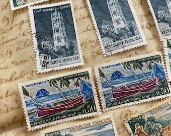 Green and blue stamps, Vintage French postage stamps, Monuments, French castles mixed pack