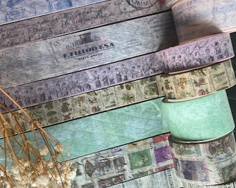 Set of 8 Vintage style Washi tape rolls, Large washi set, French vintage designs by Excuse My French Shop