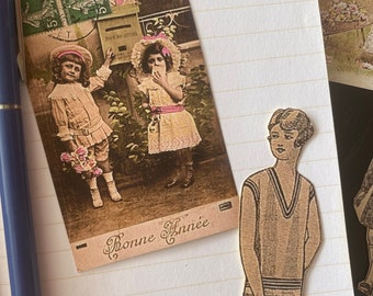 Vintage girls stickers, Cute set of Vintage style peel-off stickers, French little girls