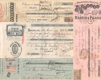 Digital French checks, Vintage French Bank ephemera to download, Colorful ephemera