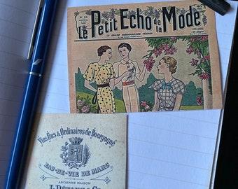 Vintage style sticker, French ephemera replica, peel-off stickers x 8
