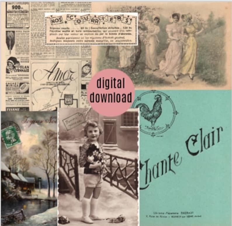 Mix of French Ephemera Papers Old documents Ephemera vintage paper pack Printable