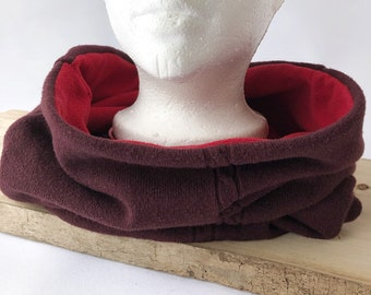 Collar, Neck Cover, Polar Dubbed, Burgundy and Red, Recovered Fabrics, Unique