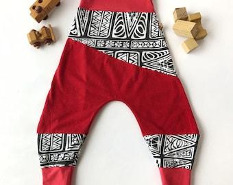 Baggy comfy children's pants, Sarouel Harem children's pants, Grow with the children, Blue/Red, Recycled matérial