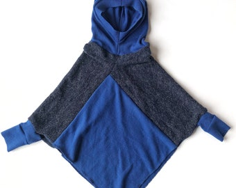 1 to 3 years, Poncho for children, Cape, Acrylic knitting, Blue tones, Recovered textiles