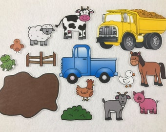 Blue Truck - Felt Board Story - Felt Stories - Speech Therapy - Gifts for Kids - Birthday Party - Toddler Activity - Flannel Board Busy Bag