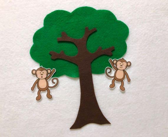 Five Little Monkeys Swinging In Tree Felt Stories Flannel Stories Set Speech Therapy Nursery Rhyme Toddler Busy Board 5 Monkeys