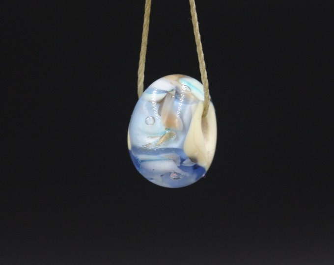Lampwork Glass Bead Pendant Necklace. Handmade One-of a- Kind Lampwork Bead On Adjustable Tensile Bead Thread 30 to 13 Inch Length.