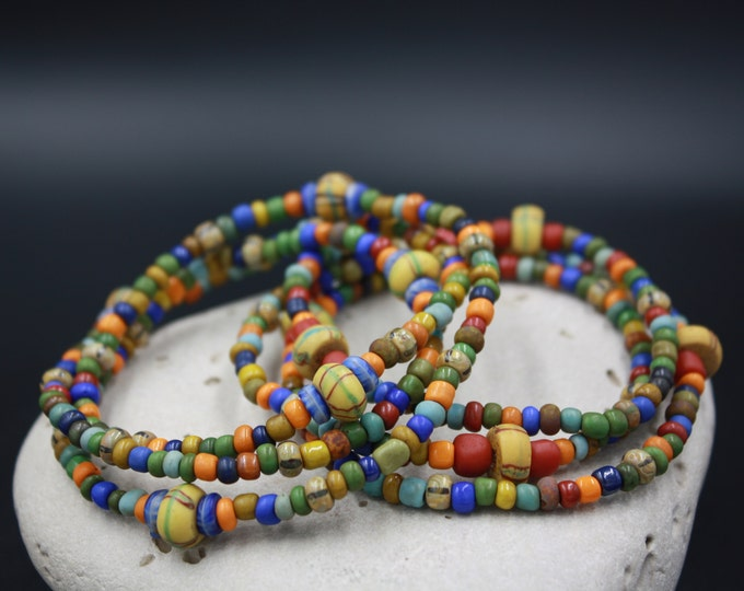 Liberty Street - Ancient Men's Beaded Bracelet, 17th Century Trade Beads, Matte Indonesian Beads, African Gooseberries, Kakamba Beads