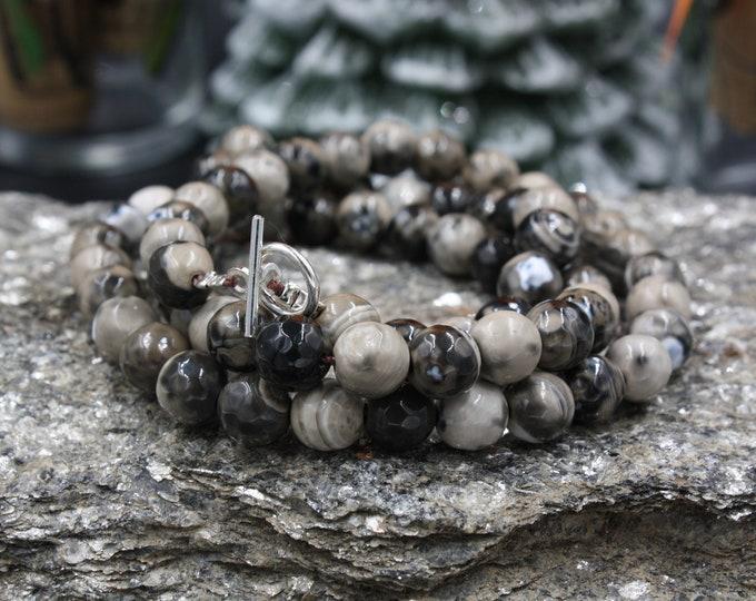 Gemstone Wrap - Women's Beaded Wrap Bracelet Gemstones & 925 Silver Toggle Clasp
