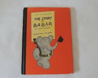 1960 The Story of Babar the Little Elephant, vintage childrens book, classic story book, collectible childrens book, old book,hardcover book