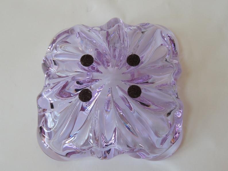 purple glass art Mid Century Modern Blown Glass Sculpture glass ashtray heavy glass bowl