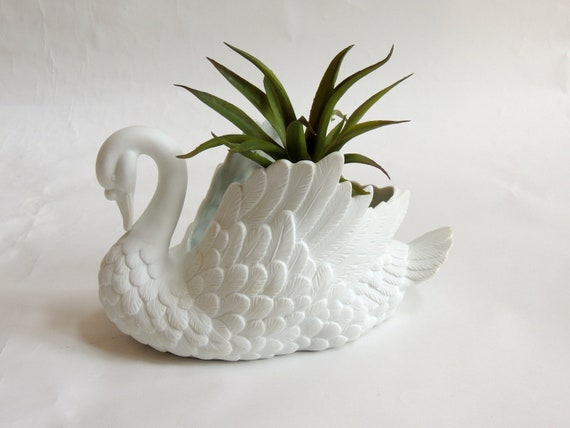Vintage White Swan Planter Ceramic Swan Bird Planter Swan Etsy