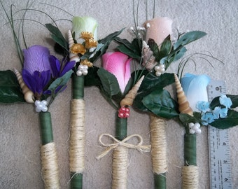 Sisal Wrapped Single Flower & Seashell Bouquet  for Bridesmaids