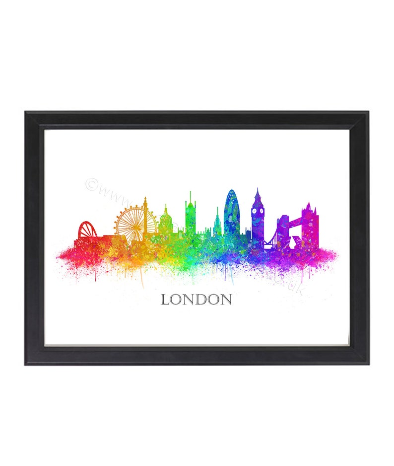Stampa Skyline di Londra London City Skyline acquerello  1ef0ec9e1ae3