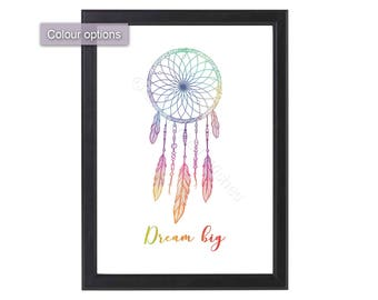 Dreamcatcher Print, Dream Catcher Print, Boho Print, Dreamcatcher Wall Art, Dream Big Print, Nursery, Child's Room, Poster, Boho Decor