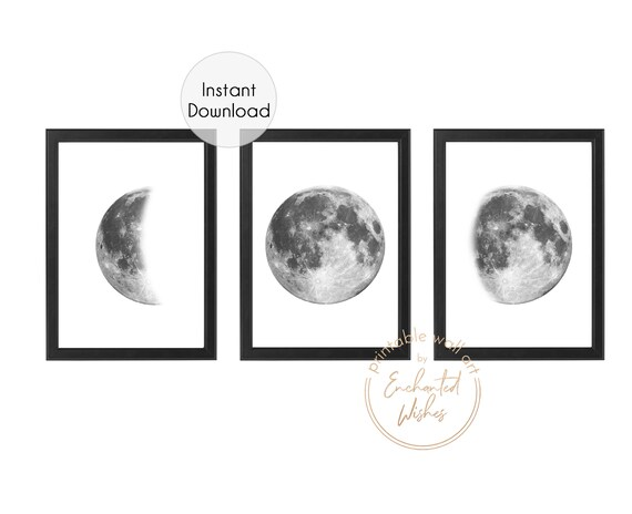 image about Moon Phase Printable called Established of 3 Moon Step PRINTABLE Prints, Monochrome Moon Prints, Lunar Step Prints, Moon Step Artwork, Massive Moon Prints, Moon Poster Wall Artwork