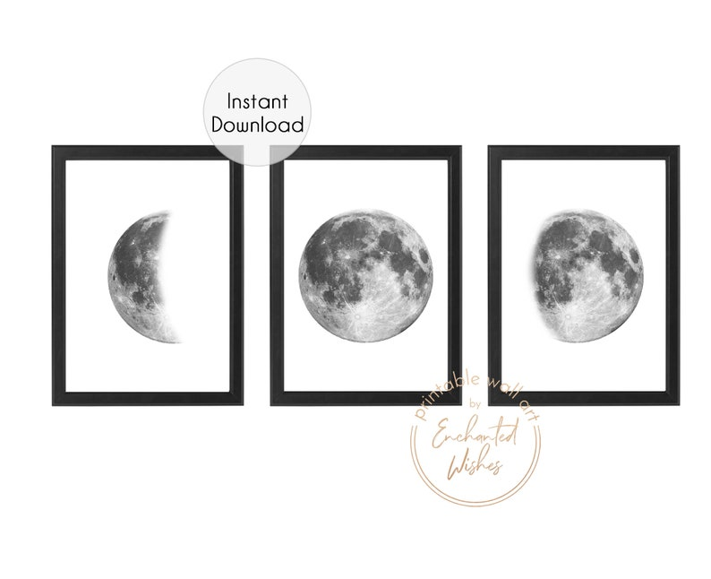 photo relating to Moon Phases Printable named Preset of 3 Moon Move PRINTABLE Prints, Monochrome Moon Prints, Lunar Stage Prints, Moon Step Artwork, Huge Moon Prints, Moon Poster Wall Artwork