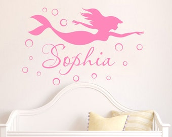 High Quality Mermaid WALL DECAL Name Personalized Vinyl Decals Sticker Mermaid Girl Name  Wall Decor For Girls Bedroom