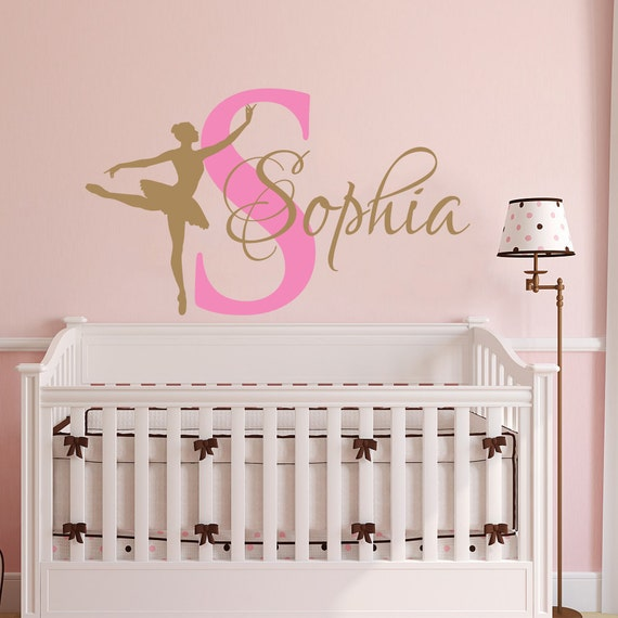 Ballerina WALL DECAL GIRL Name Dancing Nursery Ballet Dance Vinyl Decals  Sticker Custom Decals Personalized Girls Bedroom Decor Room x272