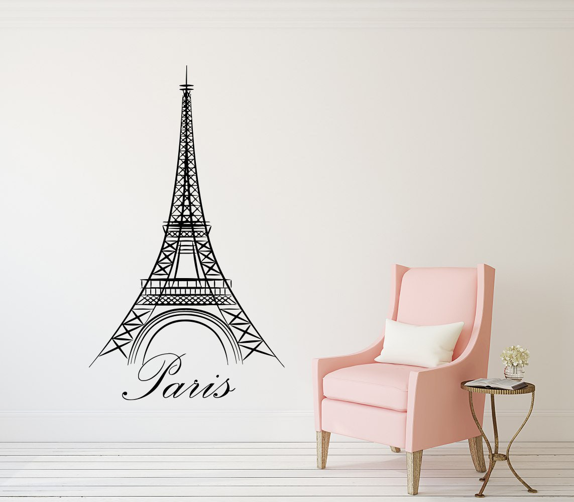 Eiffel Tower Wall Decal Paris Silhouette Vinyl Stickers Decals Etsy