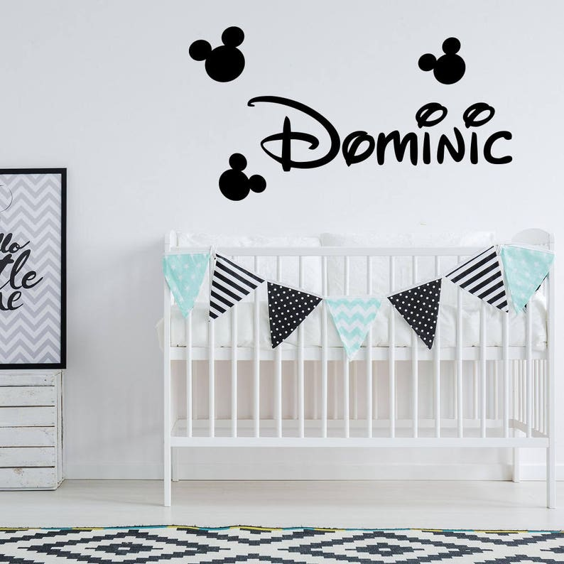 . Mickey Mouse Wall Decal Name Boy Vinyl Sticker Decals Custom Name Decals  Personalized Baby Boy Name Decor Kids Nursery Baby Room Decor x84