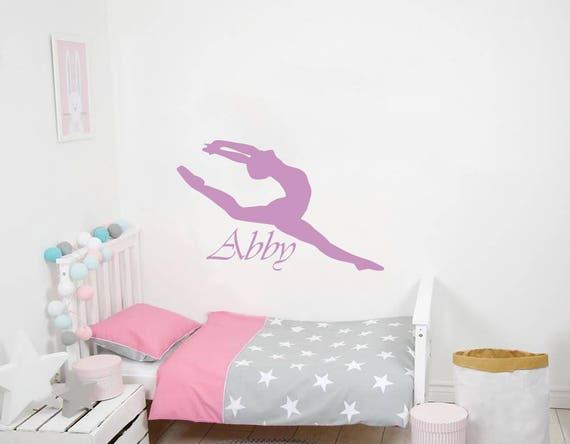 Girl Name Wall Decal Ballerina Dancer Vinyl Wall Decals Sticker Custom Personalized Girls Name Decor Ballerina Acrobatics Ballet Dancer Gymnastics Nursery Decor ZX135